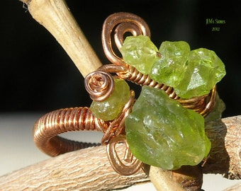 Nature's Peridot Copper Handwrapped Adjustable Ring