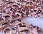 Shiny Rose Gold plated lobster clasp-6 x 11mm - 4 pcs. JAPAN