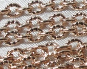 Rose Gold Plated, pattern oval chains-LARGE-1 meter. JAPAN
