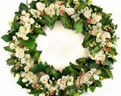 """CUSTOM ORDER FOR C.P. -- Cream and Green Wild Rose and Ferns 18"""" Wreath"""