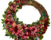 """CUSTOM ORDER FOR C.M. -- Pretty in Pink Lilies and Roses 24"""" Wreath"""