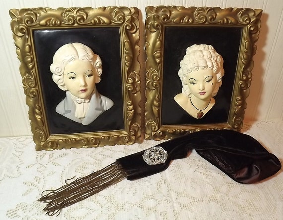 French Country, Paris Apt. Hollywood Regency, Vintage Pair of Male/Female 3 dimensional wall hangings