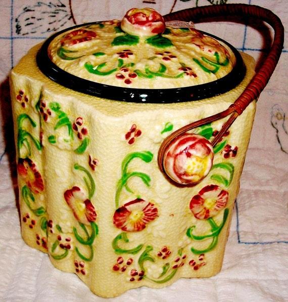 VINTAGE Antique BISCUIT JAR, Japan Made Yellow Floral, Gorgeous Piece