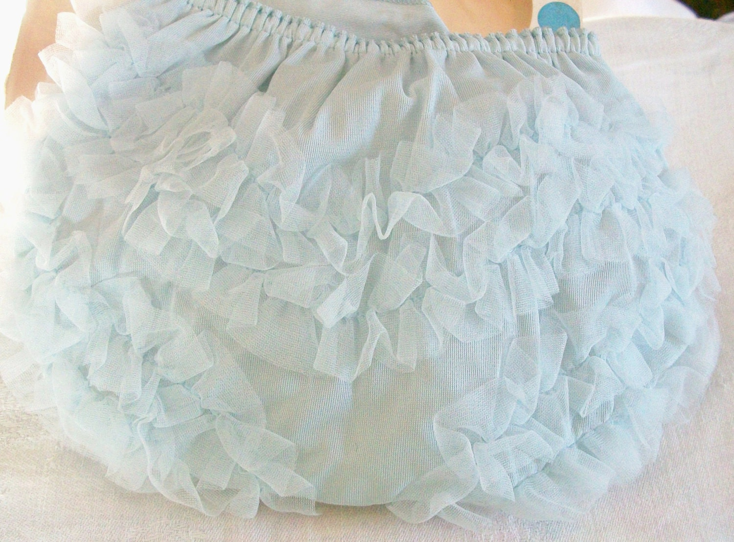 Vintage Blue Ruffled Baby Plastic Lined Panties Size Small