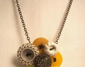 Wire wrapped Grey and Yellow vintage button necklace