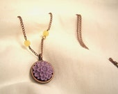 Purple Chrysanthemum Cabochon and Bronze necklace