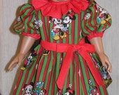 Christmas Micky and Minnie Mouse Dress for an 18 inch American girl doll