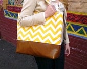 chevron diaper bag large yellow tote with leather bottom, tote bag in yellow chevron with leather, Everything Bag, Zig Zag,