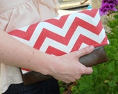 Coral chevron fold over clutch with leather,bridesmaid zig zag clutch with leather in coral