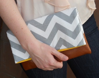 Gray chevron clutch with leather, fold over bridesmaid clutch Bag, Chevron Foldover Clutch, purse, zig zag, gray