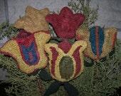 E PATTERN Primitive Rug Hooking Pattern Folk ART Fraktur Tulips PDF