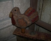 Primitive Folk Art Rug Hooking Turkey Make Do Pattern