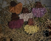 Primitive Rug Hooking Wool Cone Flowers Folk Pattern OFG Team