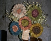 Primitive Rug Hooking Wool Flowers Pattern  FAAP