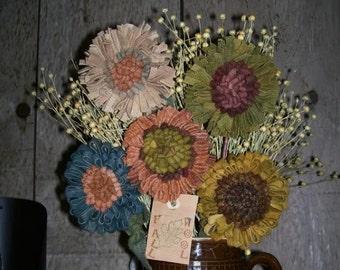 E PATTERN Primitive Rug Hooking Wool Flowers Pattern PDF