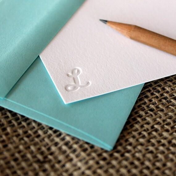 custom letterpress monogram notecards (set of 20) - debossed script initial