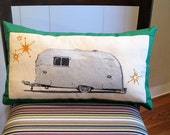 CUSTOM listing for CORY58IMPALA Silver Airstream pillow with orange banding, painted and embroidered on cotton
