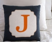 """CUSTOM LISTING for HHANSZ - (2) 16"""" x 16"""" (finished) initial pillow, bamboo felt"""