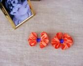 Orange Bow tie Hair clip Clemson Orange and purple