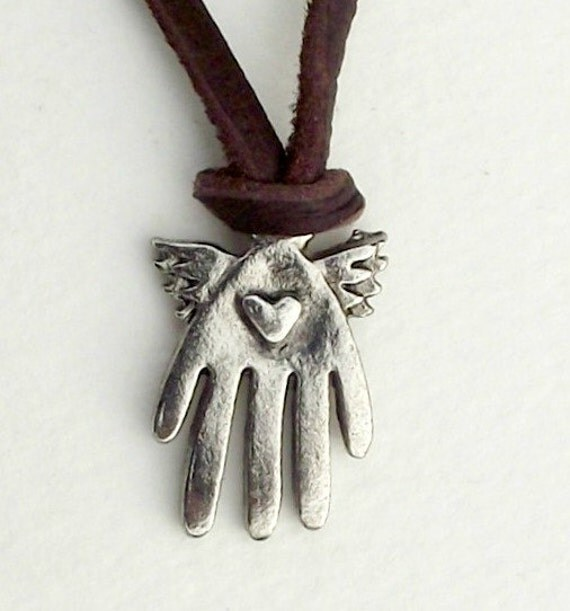 Healing necklace on super soft deerskin leather by Evas jewellery.