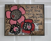 11 x 14 - Mixed Media - Original Art - Micah 6:8 - Do what is right  - Scripture Canvas  - READY to SHIP