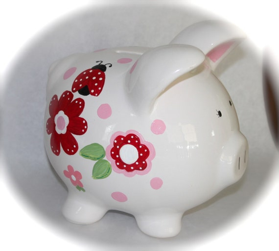 Hand painted ceramic piggy bank red ladybugs and by studioof5 for How to paint a ceramic piggy bank