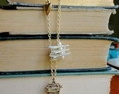 Shh I'm Writing book lover's typewriter, golden heart, and vintage paper & pearl necklace