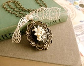 Romance My Heart black and ivory flower cameo necklace with vintage lace