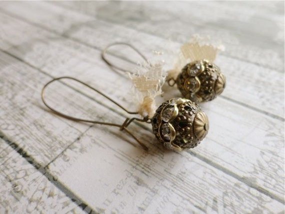 Romantic brass & rhinestone drop earrings with lace, Antiquity Lane