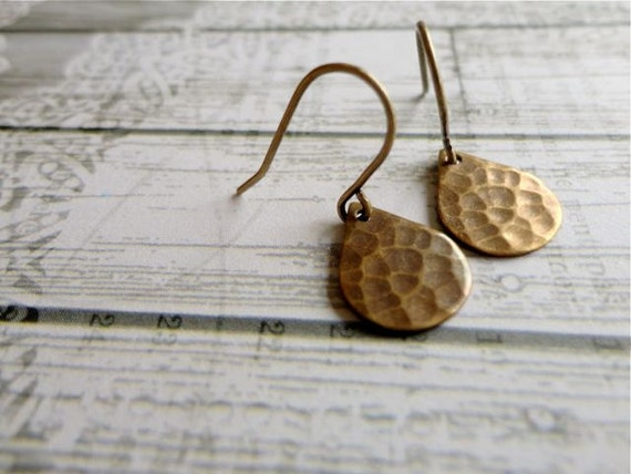 A Rumble of Thunder rustic hammered antiqued brass raindrop earrings, tear drop brass