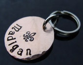 Reserved pet tag for Deborah D2E --  hand hammered hand stamped penny pet tag -- your phone number on back