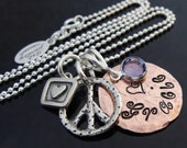 Hand stamped Lucky Penny charm necklace with lost wax cast sterling silver charms and birthstone by D2E Jewelry on Etsy