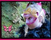 Fleur de lis Orchid Venetian Mask - Pink Venetian Carnival Renaissance Romance - Butterfly Skeleton Key Marti Gras Masquerade