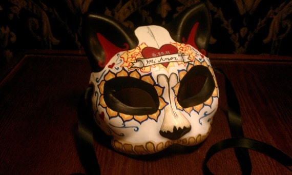 Mi Amor Gato Kitty Day of the Dead Cat Mask Dia by HikariDesign