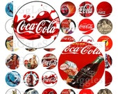 "Coca Cola Digital Collage Sheet - 1"" Round Circles - Buy 2 Get 1 Free"