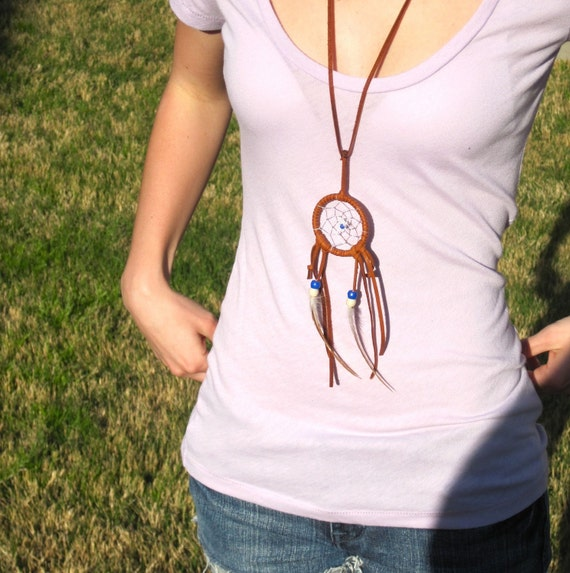 Light Brown with Blue/Tan Dreamcatcher Necklace