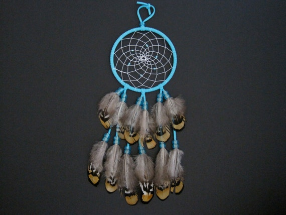 "4"" Teal with Teal Beads Dreamcatcher"