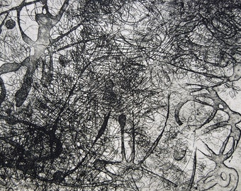 """Sides, original, hand pulled intaglio plate, 11"""" x 8"""" image and printed on 22"""" x 30"""" paper"""