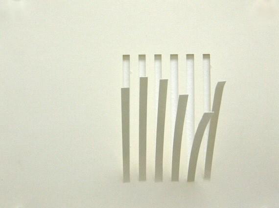 "Bars, small 9"" x 7"" original abstract cut paper piece"