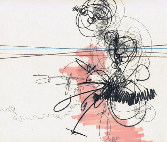 """Solitude, small 10"""" x 9"""" original abstract drawing"""