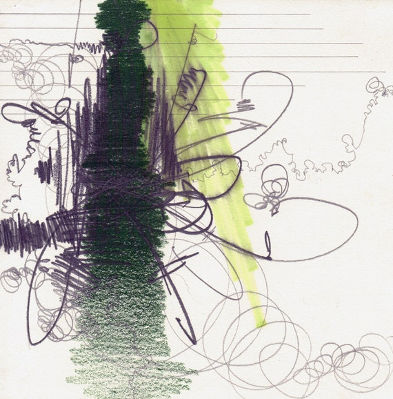 """Take Over, small, original, abstract drawing, 7"""" x 7"""""""