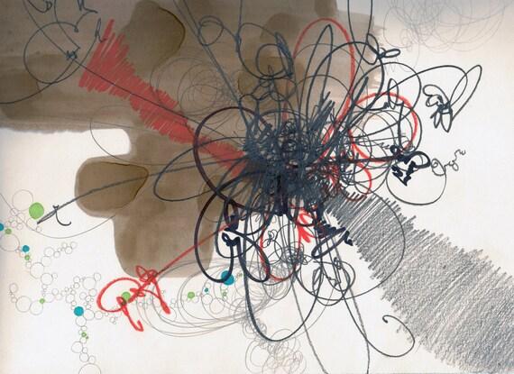 """Mood, small, original, abstract drawing 12"""" x 10"""""""