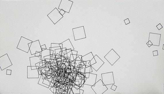"Mass, small 8"" x 14.5"" original abstract drawing"