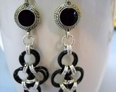 Black and Silver JAPANESE CROSS Chainmaille Earrings