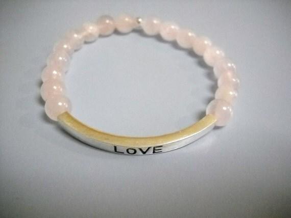 ROSE Quartz LOVE Inspirational Beaded Stretch Bracelet