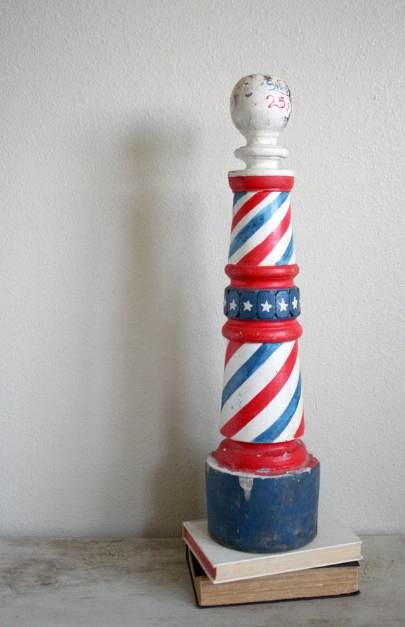 Reserved Vintage wood barber shop pole