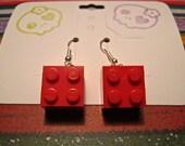 Red Lego Earrings