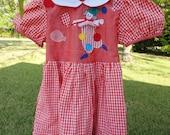 Vintage Girls Clown Gingham Party Dress