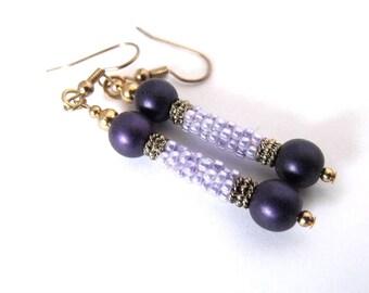 Purple dangle earrings | lilac bead jewelry