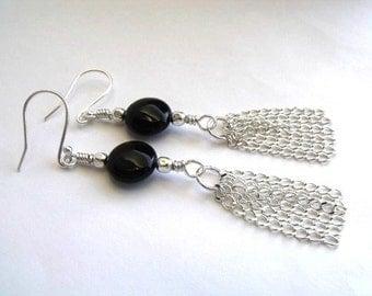 Silver and black dangle earrings beaded jewelry black earrings